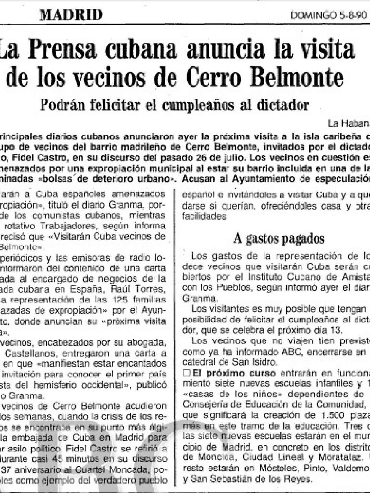 La prensa cubana hablaba de Cerro Belmonte y el diario ABC se hacía eco